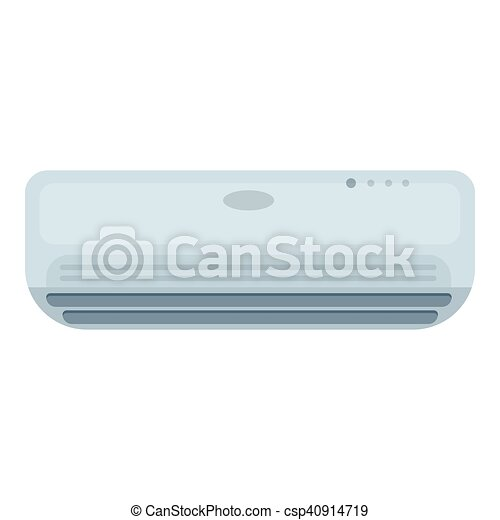 Air conditioner icon in cartoon style isolated on white background. Hotel symbol stock vector illustration. - csp40914719