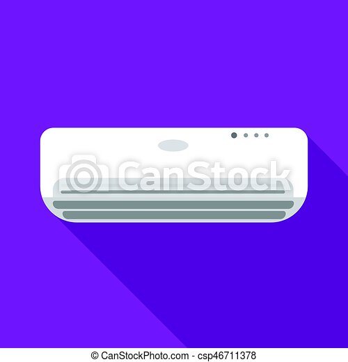 Air conditioner icon in flat style isolated on white background. Hotel symbol stock vector illustration. - csp46711378