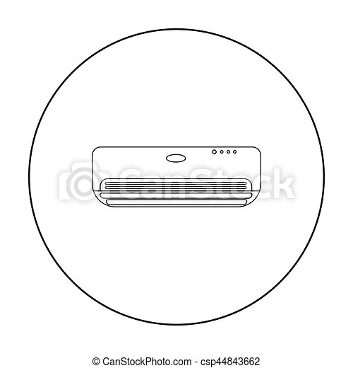 Air conditioner icon in outline style isolated on white background. Hotel symbol stock vector illustration. - csp44843662