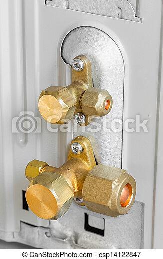 Air conditioner service and shut off valve