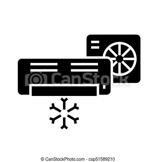 air conditioner - split system icon, vector illustration, black sign on isolated background - csp51589210