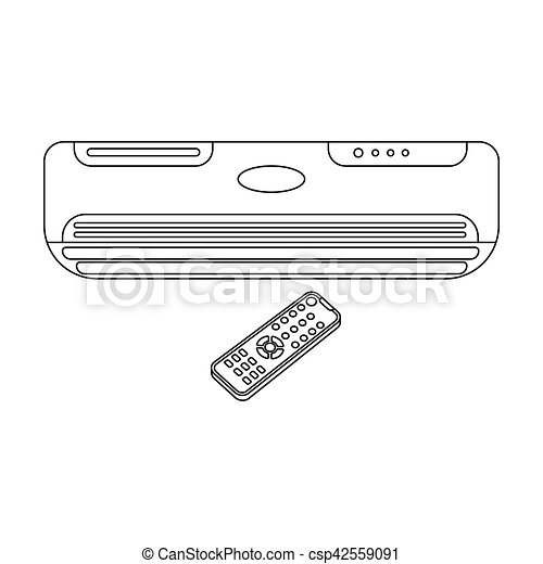 Air Conditioner With Remote Control Icon In Outline Style Isolated