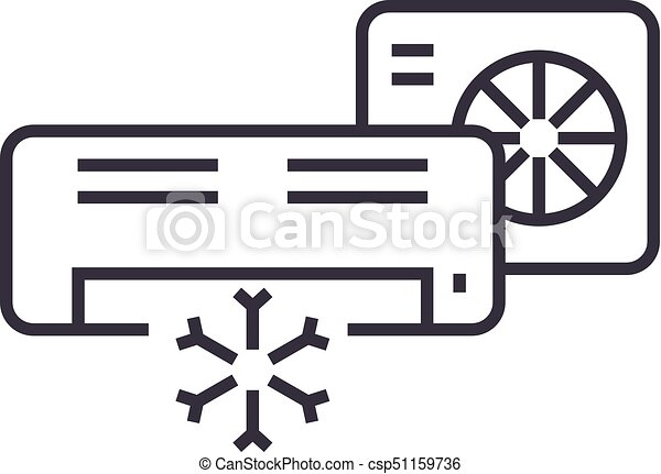 air conditioner,split system vector line icon, sign, illustration on background, editable strokes - csp51159736