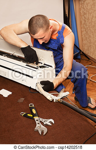 Air conditioning master preparing to install new air conditioner. - csp14202518