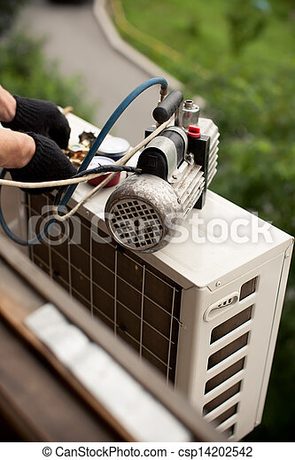Air conditioning master preparing to install new air conditioner. removal of gases from the freon tubes - csp14202542