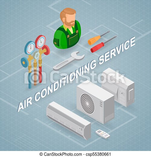 Air conditioning service. Isometric concept. Worker, equipment. - csp55380661