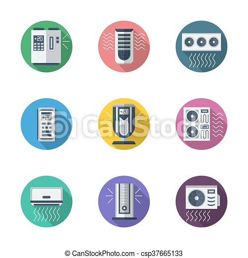 Air conditioning system round flat vector icons - csp37665133