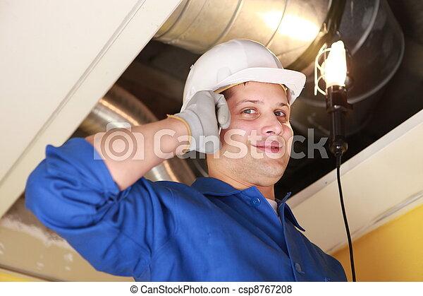 air-conditioning, trabalhador, sistema, inspeccionando, manual - csp8767208
