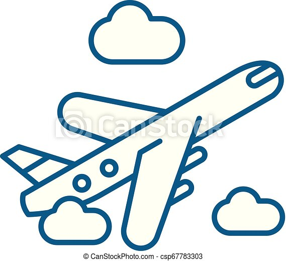 Air delivery line icon concept  Air delivery flat vector symbol, sign,  outline illustration