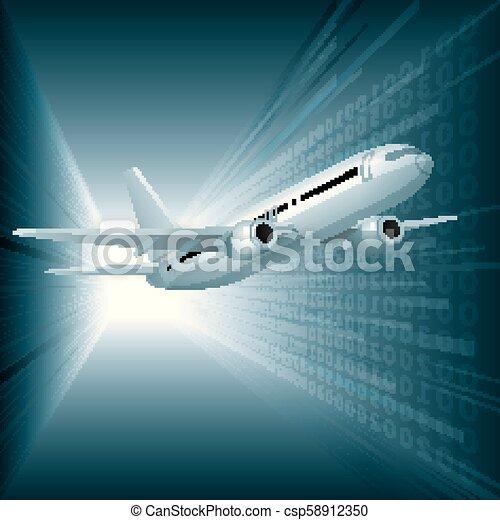 Air flight concept design, vector drawn jet airplane. - csp58912350