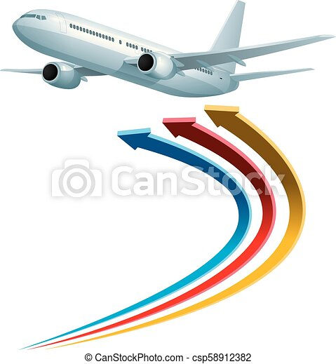 Air flight concept design, vector drawn jet airplane and arrow symbol. - csp58912382