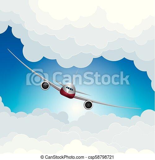 Air flight concept design, vector drawn jet airplane. - csp58798721