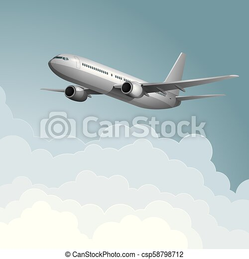 Air flight concept design, vector drawn jet airplane. - csp58798712