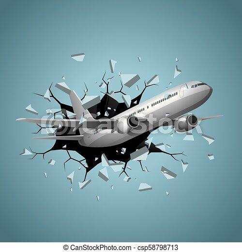 Air flight concept design, vector drawn jet airplane break through obstacles. - csp58798713
