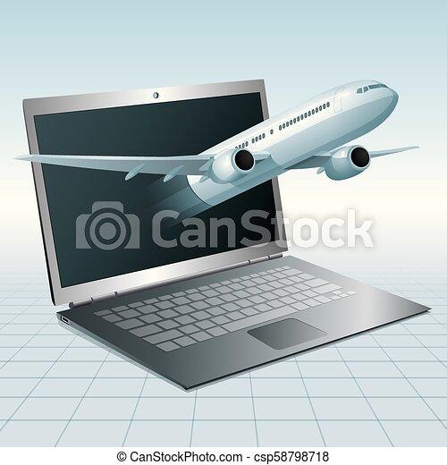 Air flight concept design, vector drawn jet airplane breakthrough laptop. - csp58798718