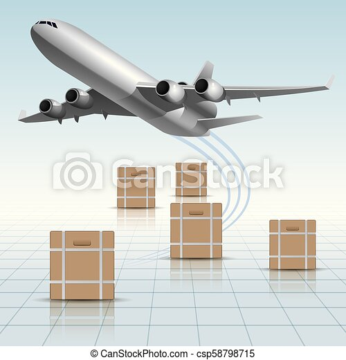 Air flight concept design, vector drawing of large cargo airplane. - csp58798715