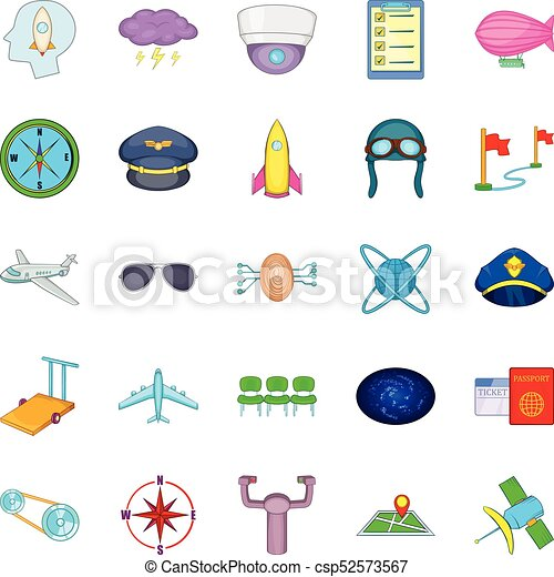 Air flight icons set, cartoon style - csp52573567