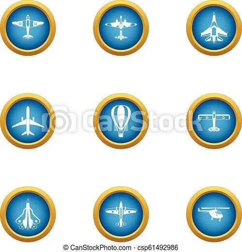 Air flight icons set, flat style - csp61492986