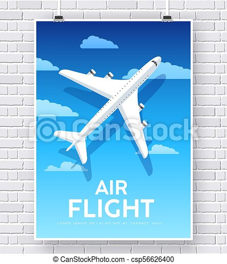 Air flight plane with house home illustration concept on brick wall - csp56626400