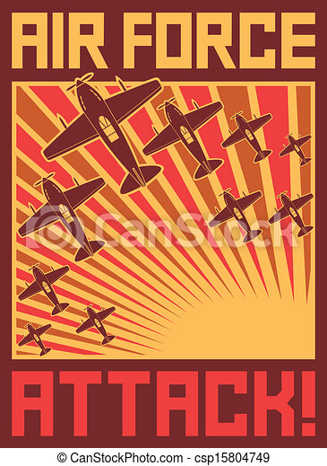 air force attack poster - csp15804749