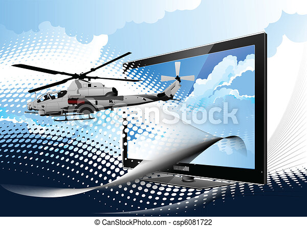 Air force. Combat helicopter on th - csp6081722