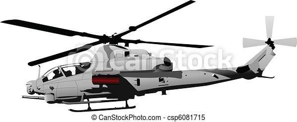 Air force. Combat helicopter. Vect - csp6081715