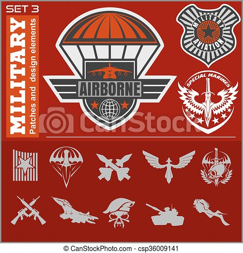 Air Force military emblem set vector design template - csp36009141