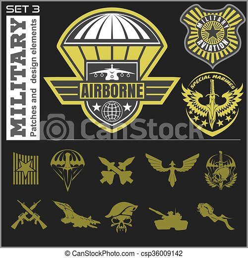 Air Force military emblem set vector design template - csp36009142