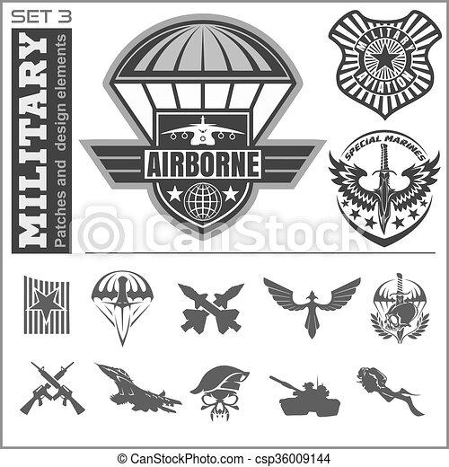 Air Force military emblem set vector design template - csp36009144