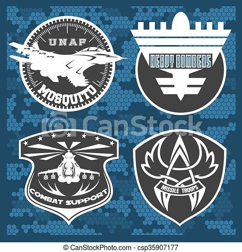 Air Force military emblem set vector design template - csp35907177
