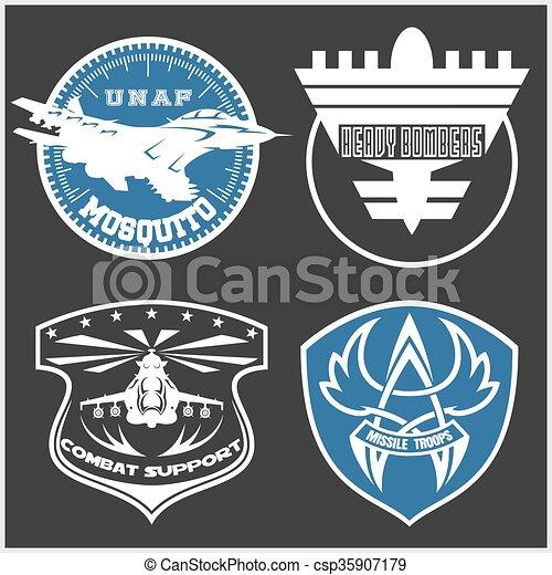 Air Force military emblem set vector design template - csp35907179