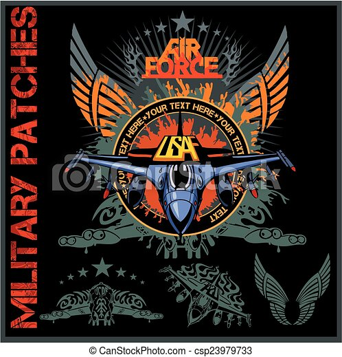 Air force patch set - stock vector. - csp23979733