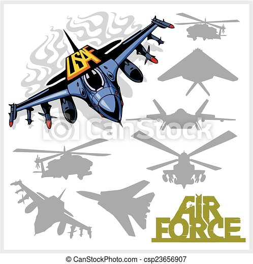 Air force - silhouettes planes and helicopters - csp23656907