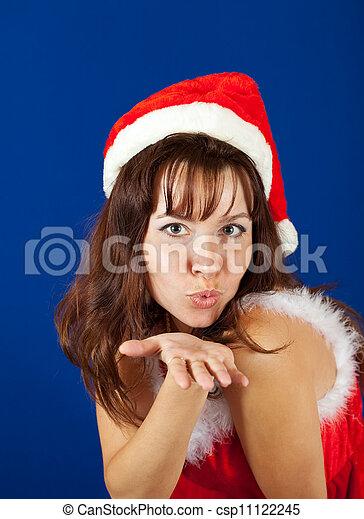 Air-kissing   girl in christmas costume   - csp11122245