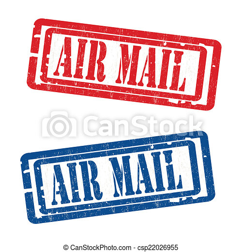 air mail grungy stamp grunge rubber air mail stamps vector