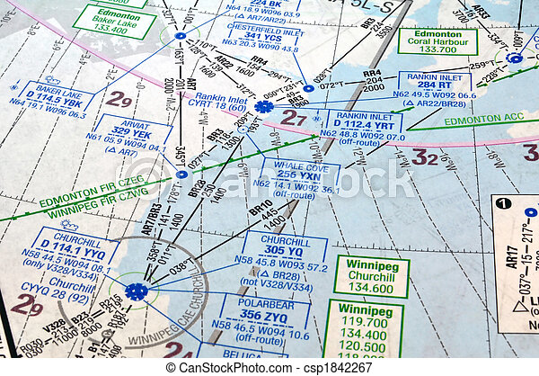 Air navigation chart . Air navigation map: airways, waypoints and ...