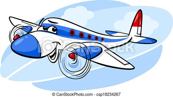 air plane cartoon illustration - csp18234267
