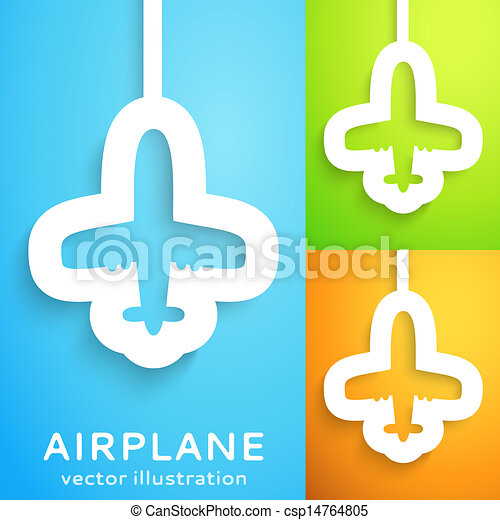 Air plane cut out of paper on color background. - csp14764805