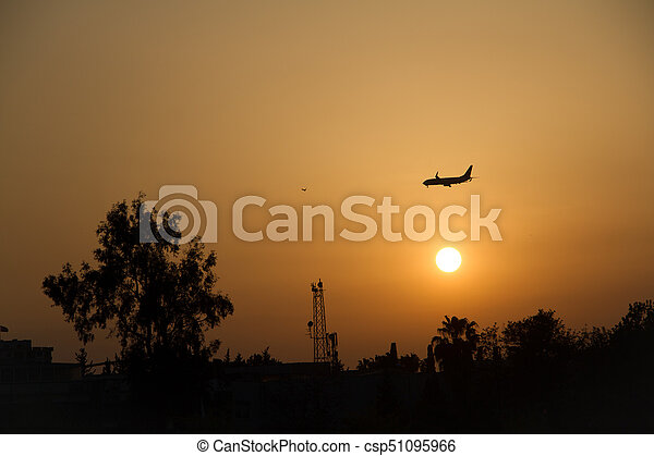 air plane flying over trees and sun set sky background - csp51095966