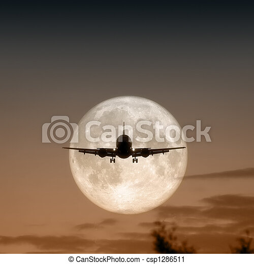 air plane full moon - csp1286511
