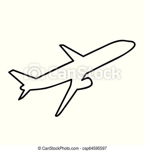 Air Plane Simple Icon Pictogram Outline Plane Simple Icon