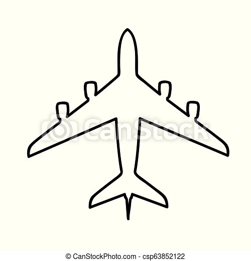 Air Plane Simple Icon Pictogram Outline Vector Illustration