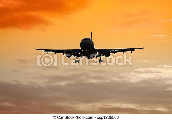 air plane sunset - csp1286508