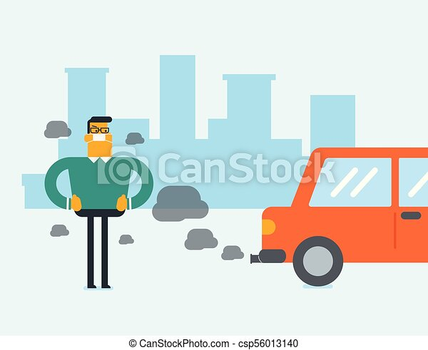 Air pollution caused by CO2 emissions from cars. - csp56013140