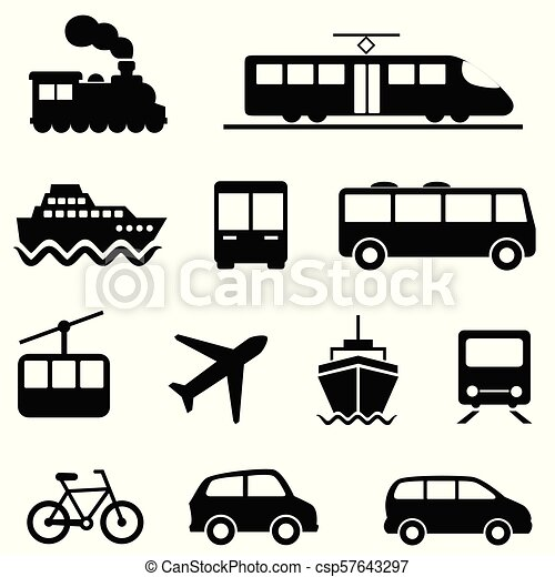 Air, sea, land and public transportation icons - csp57643297