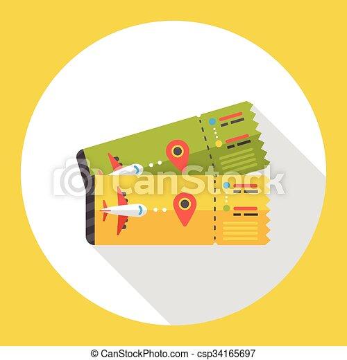 air ticket flat icon - csp34165697