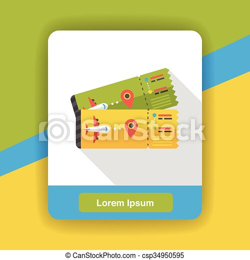 air ticket flat icon - csp34950595