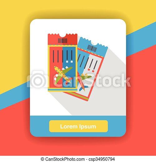 air ticket flat icon - csp34950794