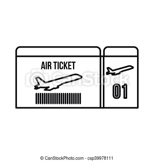 Air Ticket Icon Outline Style In Vector Rh Canstockphoto Com Fly Plane Clipart Airplane