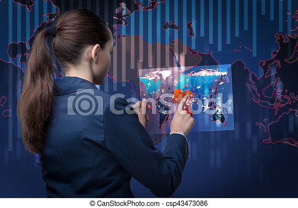 Air transportation concept with businesswoman - csp43473086